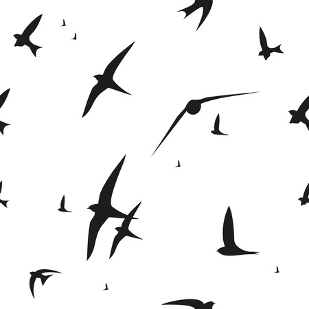 swift: Swallow, swift, birds. Graphic vector pattern. Decorative seamless background Illustration