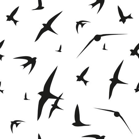Swallow, swift, birds. Graphic vector pattern. Decorative seamless background Illustration