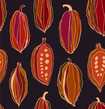 Seamless contrast pattern with cocoa beans. Decorative vector colorful chocolate background Illustration