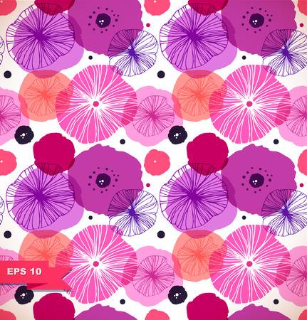 Motif décoratif sans couture avec des coquelicots. Vector style pavot. Rose texture florale, fond de la nature