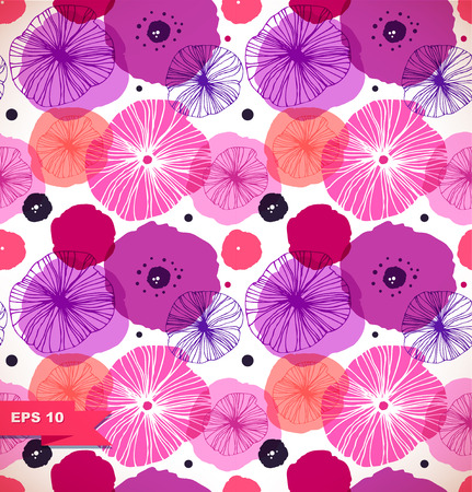 Seamless decorative pattern with poppies. Vector stylish poppy. Rose floral texture, nature background