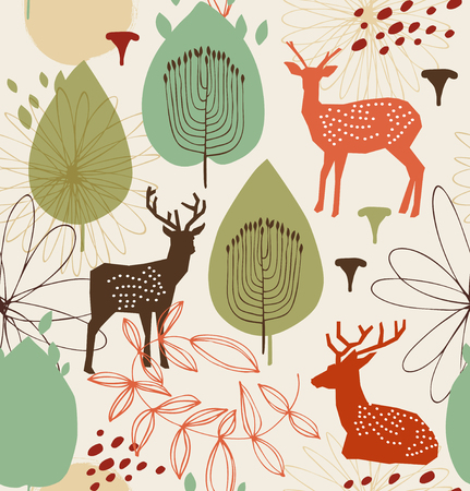 Seamless nature pattern with deers. Forest background. Vector texture Stock Illustratie