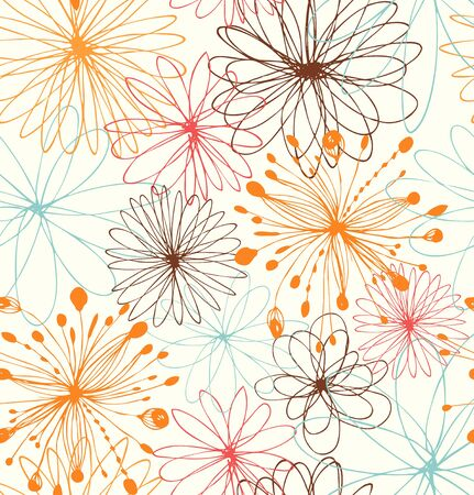 Artistic decorative drawn background with round fantasy shapes, flowers. Vector abstract pattern