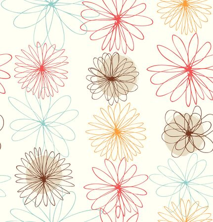 Cute decorative drawn background with round fantasy flowers Illustration