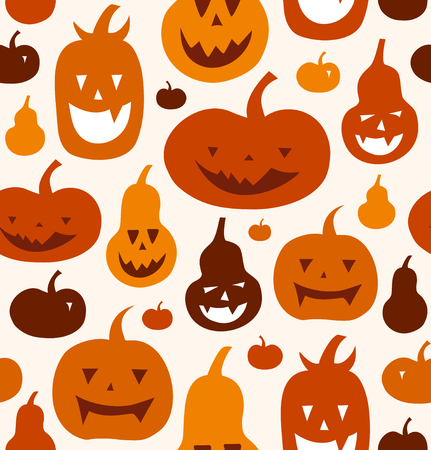 Halloween vector seamless pattern. Decorative background with funny drawing pumpkins. Cute silhouettes