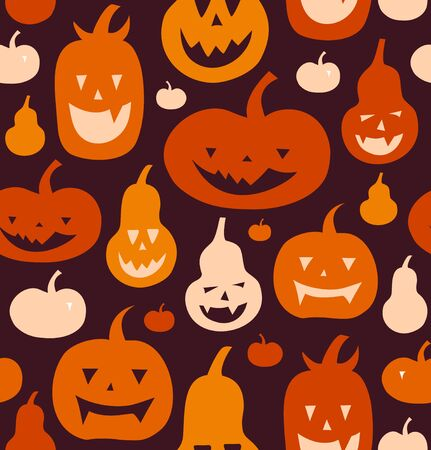 Halloween vector seamless pattern with angry silhouettes. Decorative background with funny drawing pumpkins