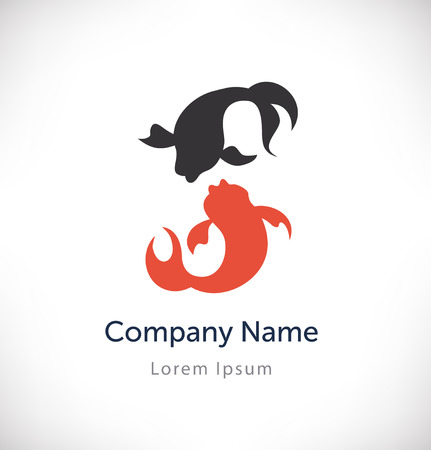 contrast: Logo vector with couple of fish silhouettes. Isolated icon, sign, logotype concept, company identity, style