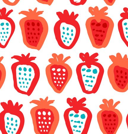 Seamless colorful background with berries. Endless fabric texture. Decorative drawing pattern