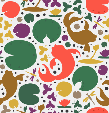 Seamless texture with inhabitants of the pond. Fish, carp, goldfish, water lilies, dragonfly. Vector decorative pattern, beauty background