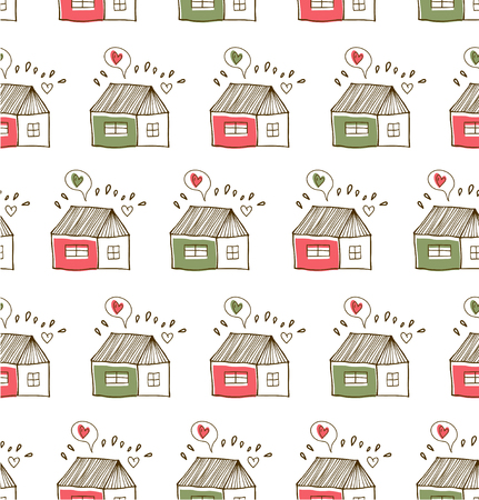 Countryside pattern with cute houses. Seamless drawn background