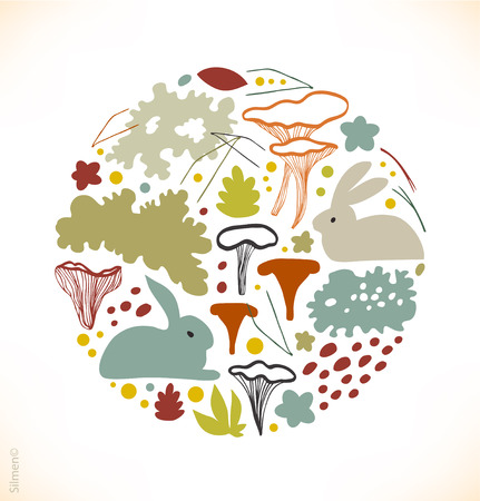 Round nordic floral image with chanterelle mushrooms, reindeer moss, gray lichens, needles Illustration