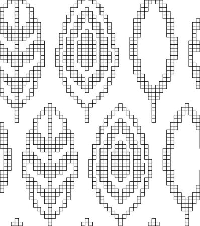 Scheme for knitting. Seamless geometric pattern with decorative leaves. Vector texture