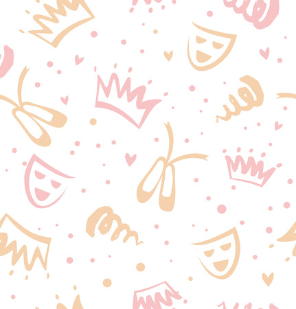 Seamless childish pattern with decorative elements of theatre, ballet, fairy-tale. Baby cute texture
