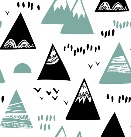 scandinavian landscape: Seamless graphic pattern with mountains, rocks in scandinavian style. Decorative background with landscape