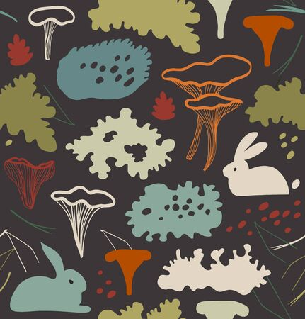 Seamless nordic floral pattern with chanter-elle mushrooms, reindeer moss, gray lichens, needles. Nature background texture