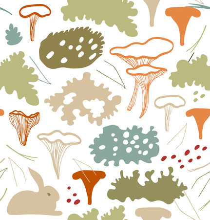 Seamless nordic floral pattern with chanterelle mushrooms, reindeer moss, gray lichens, needles. Nature light background texture Illustration