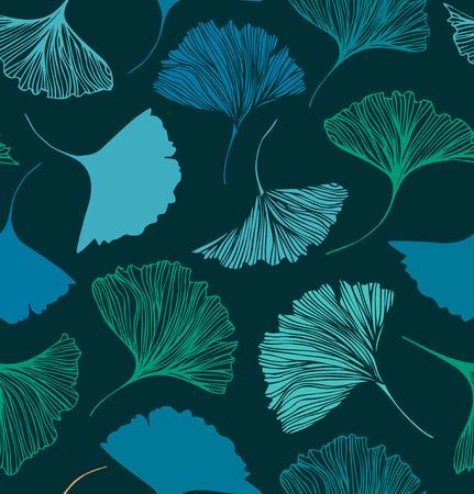 Seamless floral pattern with Ginkgo leaves. Vector decorative background
