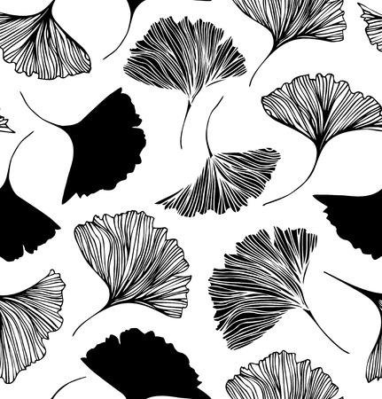 Seamless floral pattern with Ginkgo leaves. Vector graphic background Illustration
