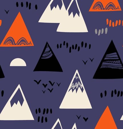 Seamless pattern with mountains, rocks in scandinavian style. Decorative background with landscape elements
