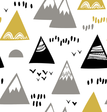 scandinavian landscape: Seamless pattern with mountains, rocks in scandinavian style. Decorative background with landscape Illustration