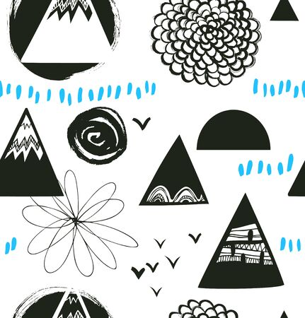 Decorative abstract texture in scandinavian style. Vector background with artistic elements. Drawn grunge pattern Illustration