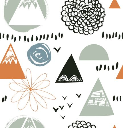 Decorative abstract texture in scandinavian style. Vector background with artistic elements. Drawn pattern