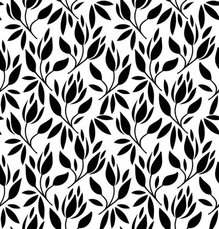 Seamless pattern with flowers and leaves. Vector graphic texture
