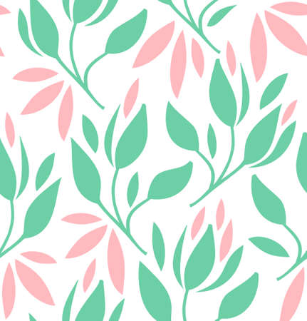 Seamless pattern with flowers and leaves. Vector romantic texture Illustration