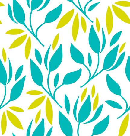 Seamless pattern with flowers and leaves. Vector vintage bright texture