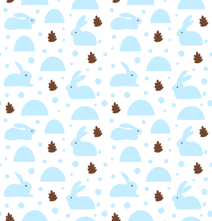 Seamless pattern with white rabbits, banny. Decorative cute baby background