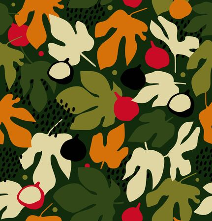 Summer decorative floral pattern, seamless background with fruits and leaves, vector nature texture Illustration