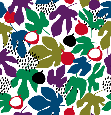 Vector decorative floral pattern, seamless background with fruits and leaves, summer texture