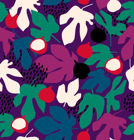 Colorful decorative floral pattern, seamless background with fruits and leaves Illustration