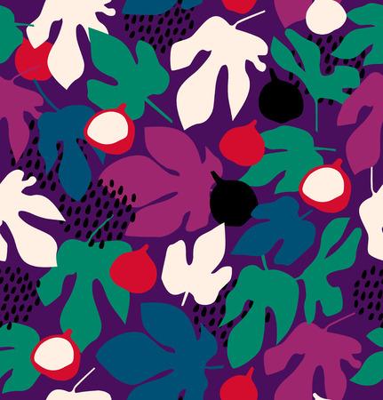 Colorful motif floral décoratif, fond transparent avec des fruits et des feuilles Vecteurs