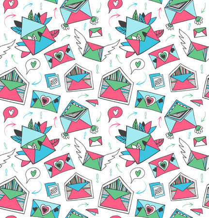 post mail: Decorative cute post mail pattern. Seamless background with lovely doodle letters, envelopes, wings and hearts Illustration
