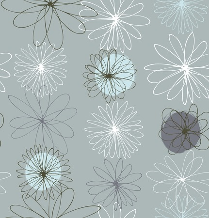 Gray decorative ornate background with round fantasy flowers
