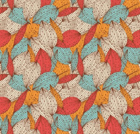 Romantic autumn floral seamless pattern. Beautiful endless linear background with leaves. Vintage leaves texture Illustration