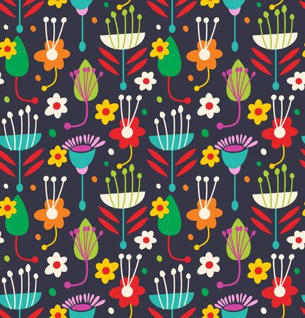 Scandinavian seamless floral pattern. Decorative background with geometric flowers and leaves Illustration