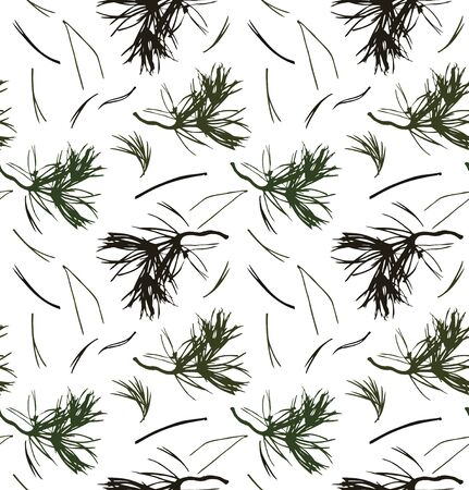 graphic texture: Seamless pattern with pine branches, vector background with needles. Nature graphic texture Illustration