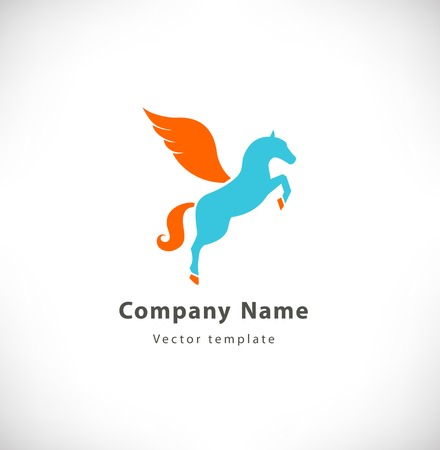 Vector logotype with fantasy horse with wings. Pegasus sign, logo