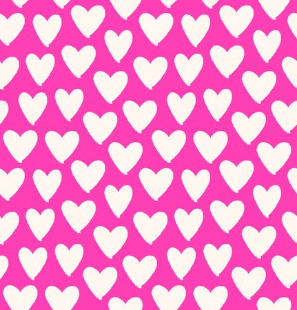 dabs: Drawn multicolor heart silhouettes on rose background. Symbol of love in pink seamless pattern