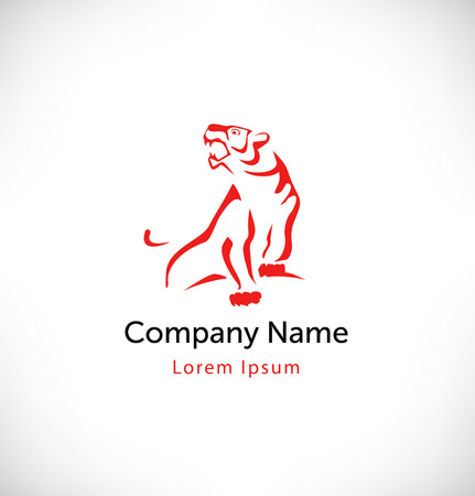Logo vector with tiger. Isolated icon, sign, logotype concept