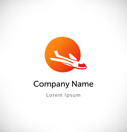 consept: Plane in sunset logo vector. Isolated icon, sign, logotype consept