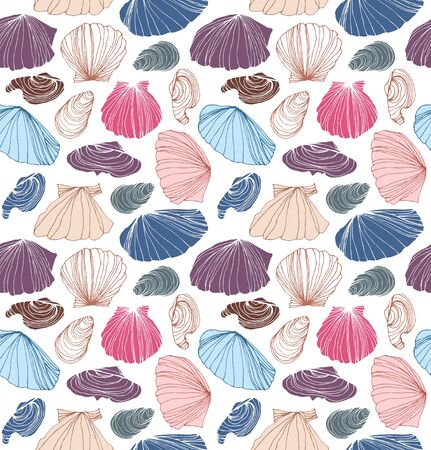 duvet: Seamless marine pattern with shells. Beautiful vector background with seashells