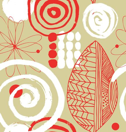 beige background: Vector drawing pattern with decorative ink drawn elements. Grunge abstract texture on beige background