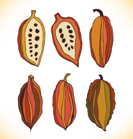 Vector set met getrokken geïsoleerd cacao bonen. Beauty collectie met decoratieve silhouetten van chocolade cacaobonen