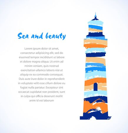 Cartoon design of isolated drawn silhouette of lighthouse, beacon. Marine symbol Ilustração