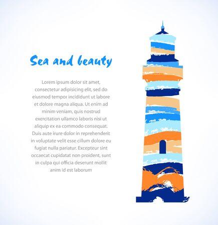 Cartoon ontwerp van geïsoleerde getrokken silhouet van de vuurtoren, baken. Marine symbool