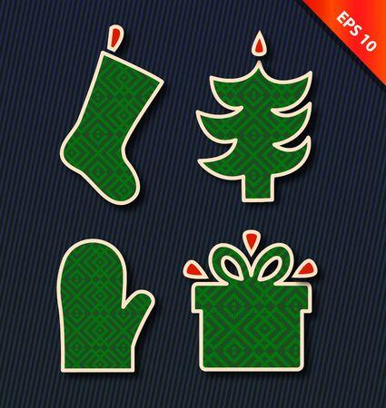 furtree: Christmas vector icon set. Vector collection with decorative Christmas tree, fur-tree, gift box, sock. Xmas symbols. New Year cartoon design