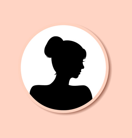 historical romance: Retro woman head silhouette in round frame. Vector Isolated woman half face. Vintage lady portrait. Contour image of head